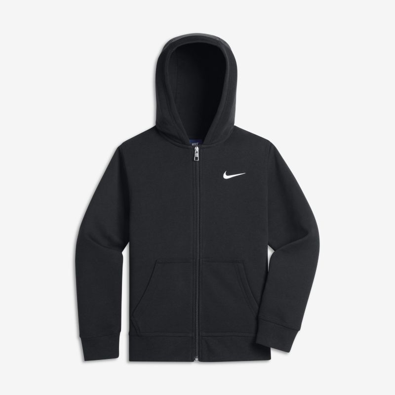 Nike Brushed Fleece Full-Zip (8y-15y) Older Boys'Hoodie - Black