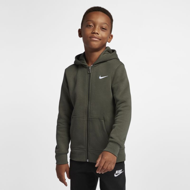 Nike Brushed Fleece Full-Zip (8y-15y) Older Boys' Hoodie - Khaki