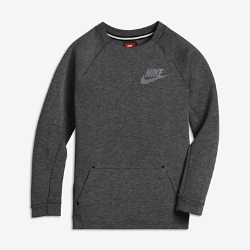 NikeСвитшот с длинным рукавом для мальчиков школьного возраста Nike Sportswear Tech Fleece с удобным карманом «кенгуру», современным облегающим силуэтом и инновационной системойсохранения тепла без утяжеления.<br>