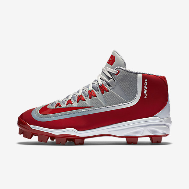 Nike Huarache 2K Filth Pro 3/4 MSC Men's Baseball Cleat - Wolf Grey/White/University Red