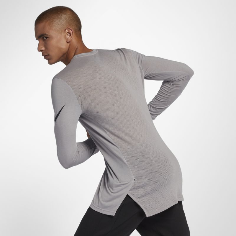 Nike Breathe Elite Men's Long-Sleeve Basketball Top - Grey