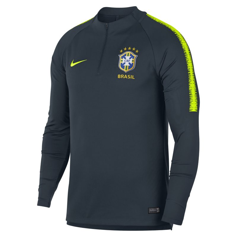 Brazil CBF Dri-FIT Squad Drill Men's Long-Sleeve Football Top - Blue