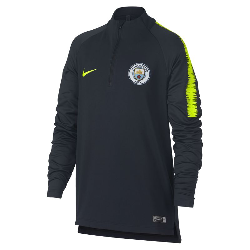 Manchester City FC Dri-FIT Squad Drill Older Kids'Long-Sleeve Football Top - Blue