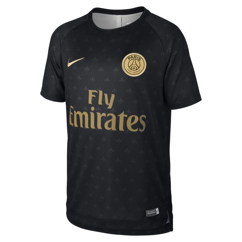 Paris Saint-Germain Dri-FIT Squad Older Kids'Short-Sleeve Football Top - Black