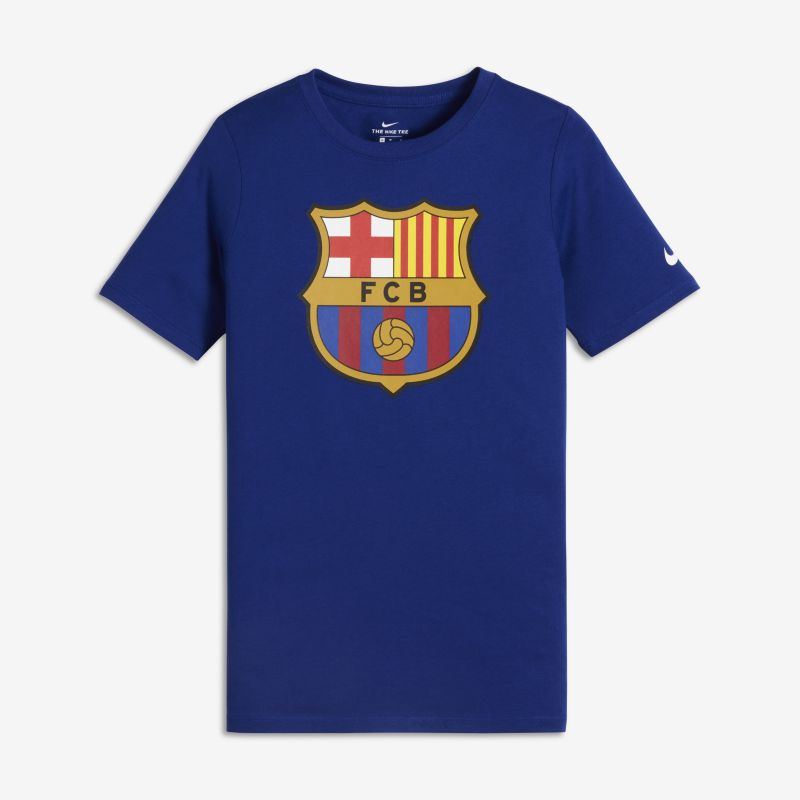 FC Barcelona Crest Older Kids' (Boys') T-Shirt - Blue