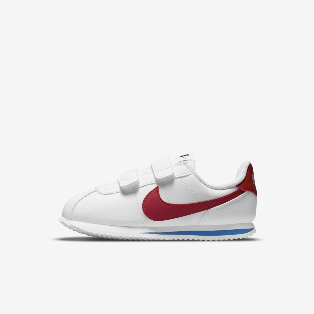 Nike Cortez Basic Sl Little Kids' Shoe (white) In White,varsity Royal,black,varsity Red
