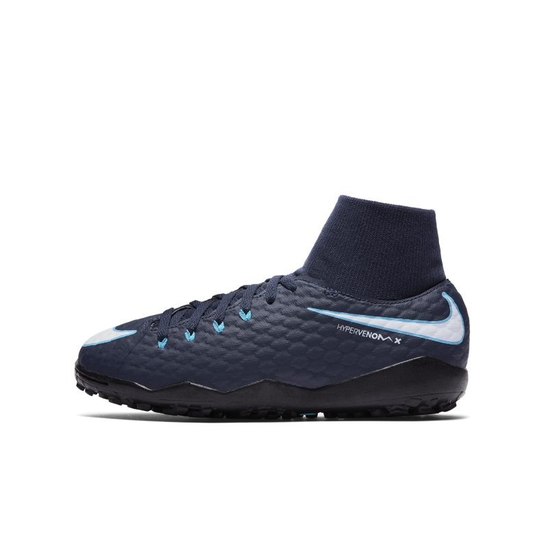 Nike Jr. HypervenomX Phelon III Dynamic Fit Older Kids'Artificial-Turf Football Shoe - Blue