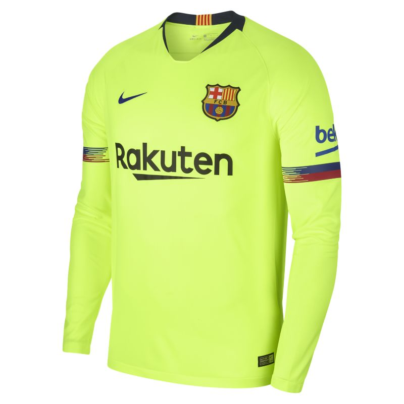 2018/19 FC Barcelona Stadium Away Men's Long-Sleeve Football Shirt - Yellow