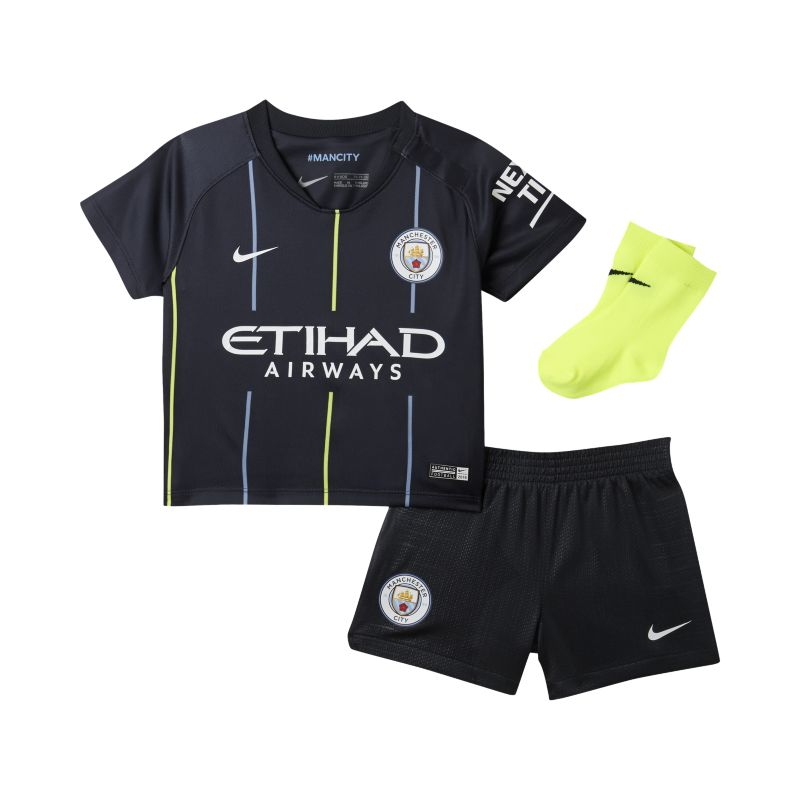 2018/19 Manchester City FC Stadium Away Baby and Toddler Football Kit - Blue