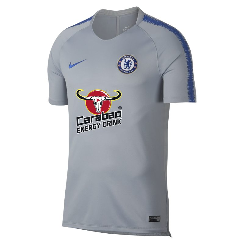 Nike Breathe Chelsea FC Squad Men's Short-Sleeve Football Top - Grey