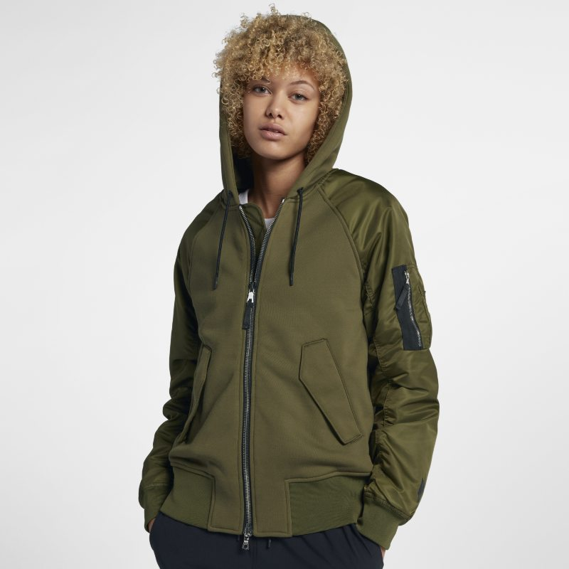 NikeLab Collection Mixed Fabric Bomber Women's Jacket - Olive