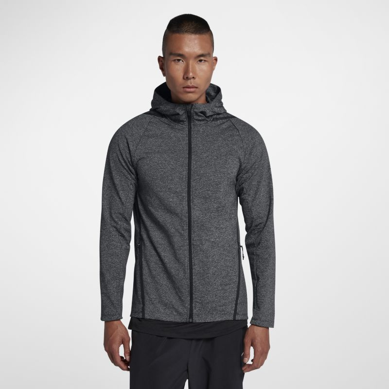 Nike Dri-FIT Men's Long-Sleeve Full-Zip Training Hoodie - Black