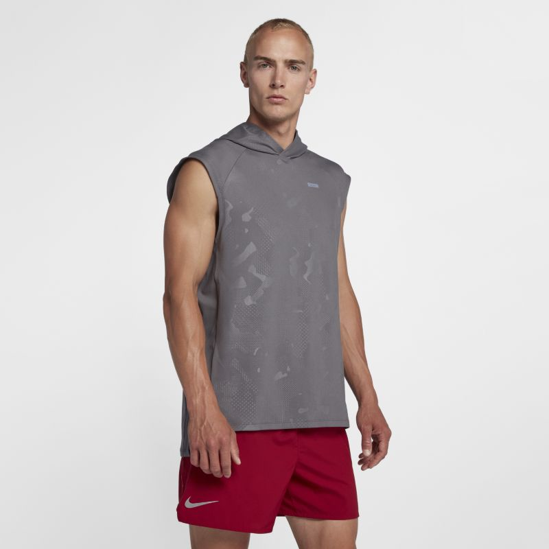 Nike Element Men's Sleeveless Running Hoodie - Grey