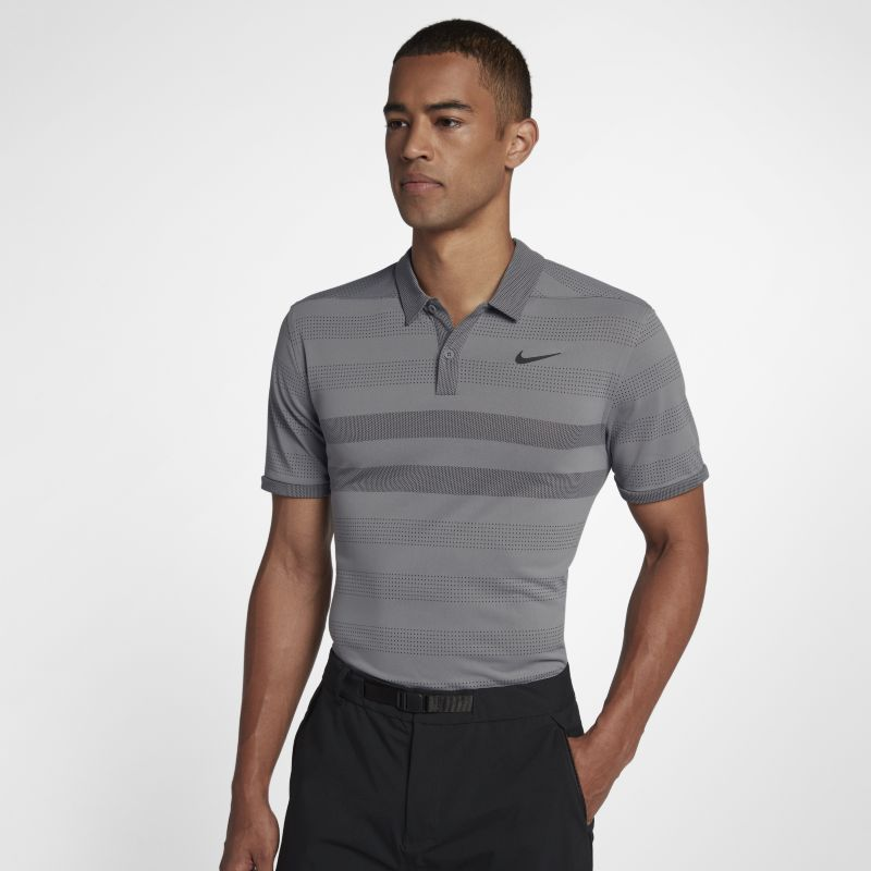 Nike Zonal Cooling Men's Striped Golf Polo - Grey