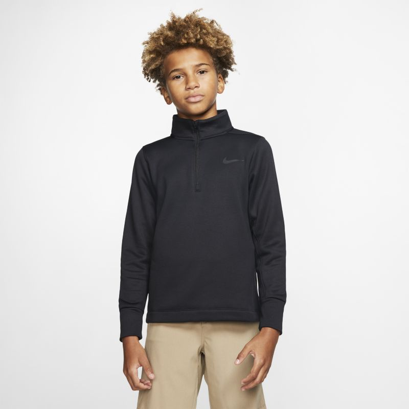 Nike Dri-FIT Therma Older Kids'(Boys') Half-Zip Golf Top - Black