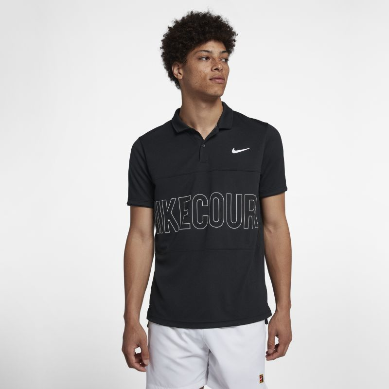 NikeCourt Dri-FIT Men's Graphic Tennis Polo - Black
