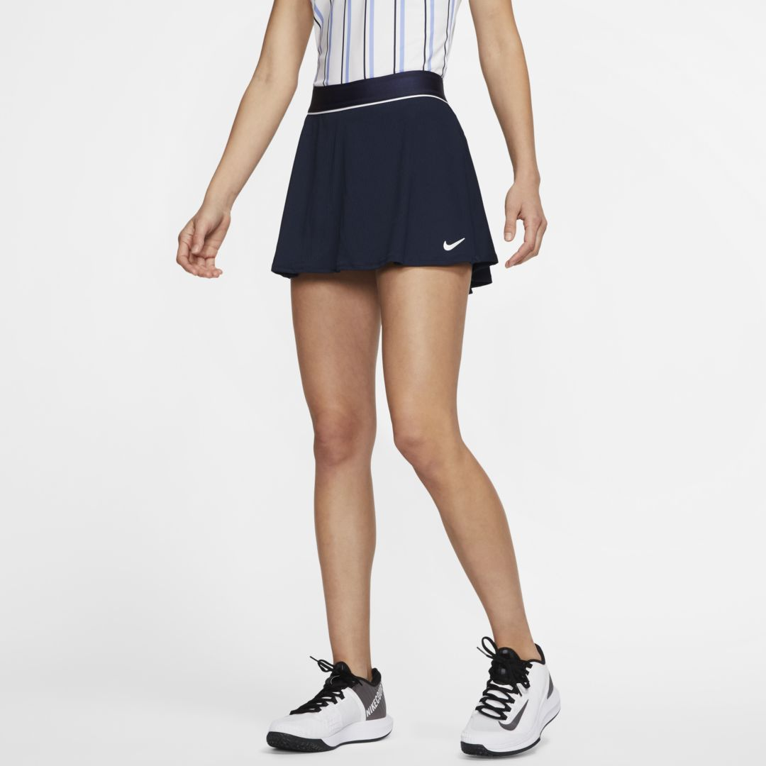 Nike Court Dri Fit Women S Tennis Skirt In Obsidian White White Modesens Flat, elastic waistband stretches for a secure, flattering fit. modesens
