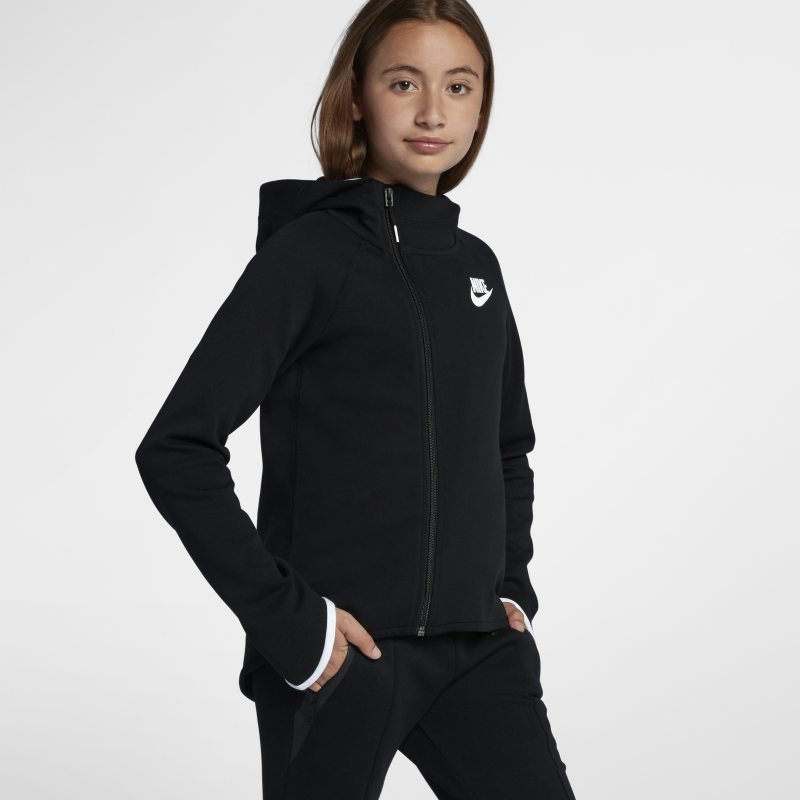 Nike Sportswear Tech Fleece Older Kids'(Girls') Full-Zip Hoodie - Black