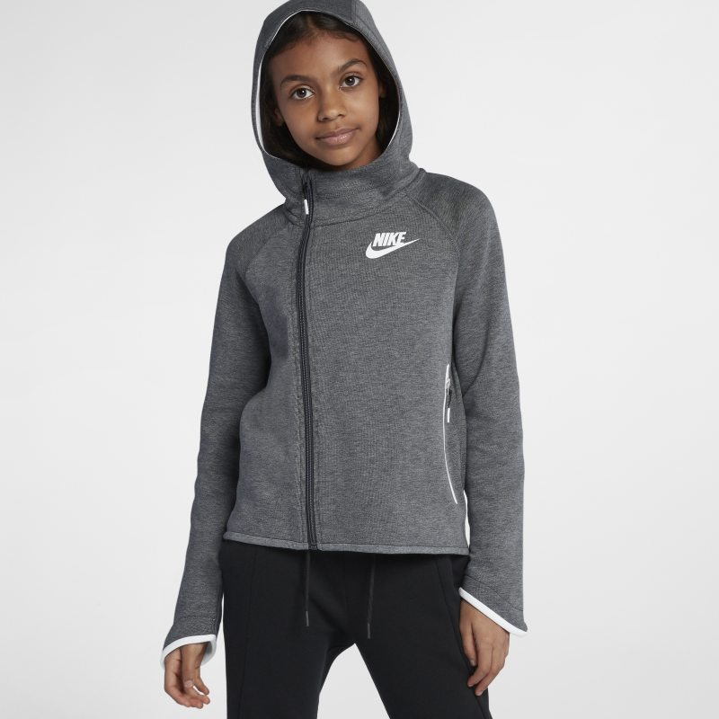 Nike Sportswear Tech Fleece Older Kids'(Girls') Full-Zip Hoodie - Grey