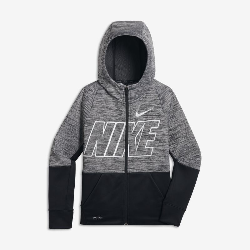 Nike Dri-FIT Therma Older Kids' (Boys') Full-Zip Training Hoodie - Grey