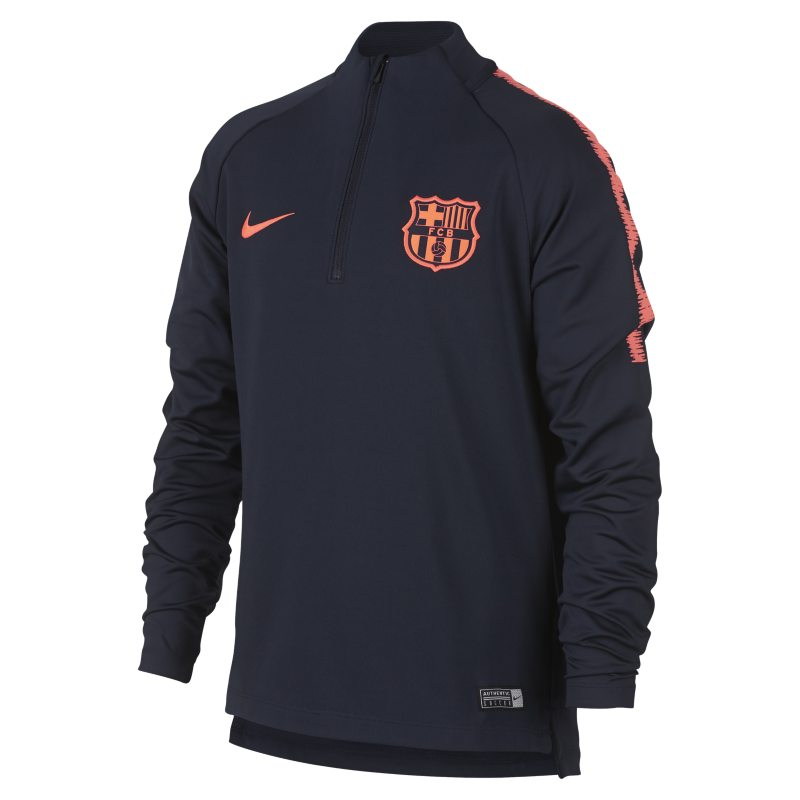 FC Barcelona Dri-FIT Squad Older Kids'Long-Sleeve Football Top - Blue
