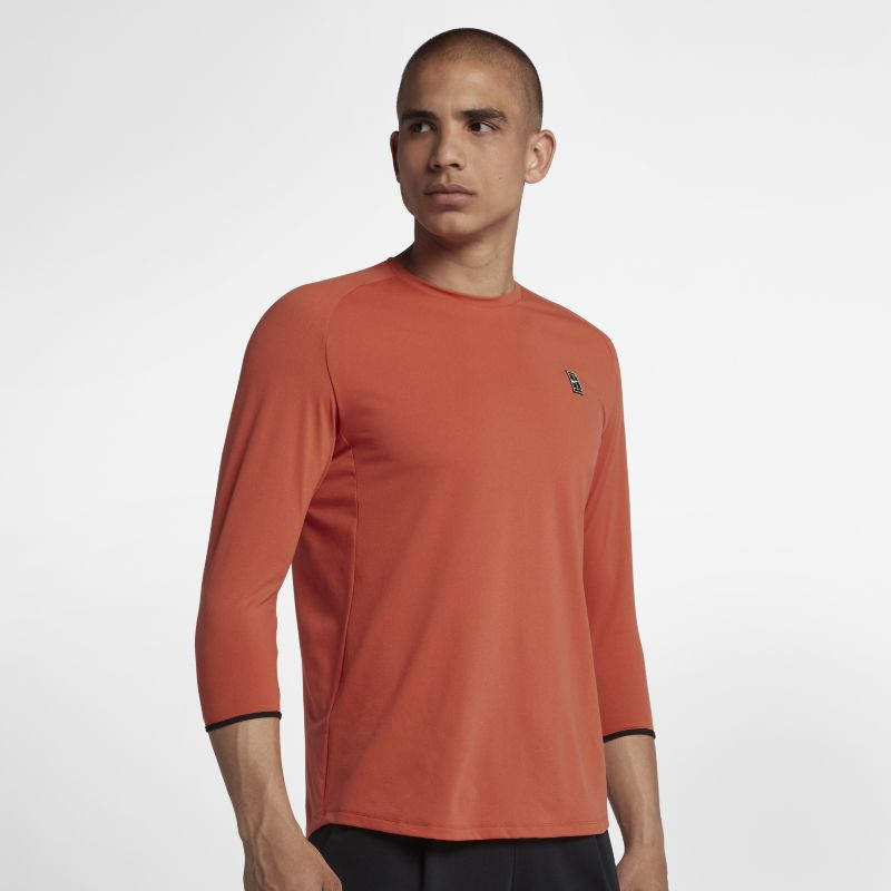 NikeCourt Dry Challenger Men's 3/4-Sleeve Tennis Top - Red