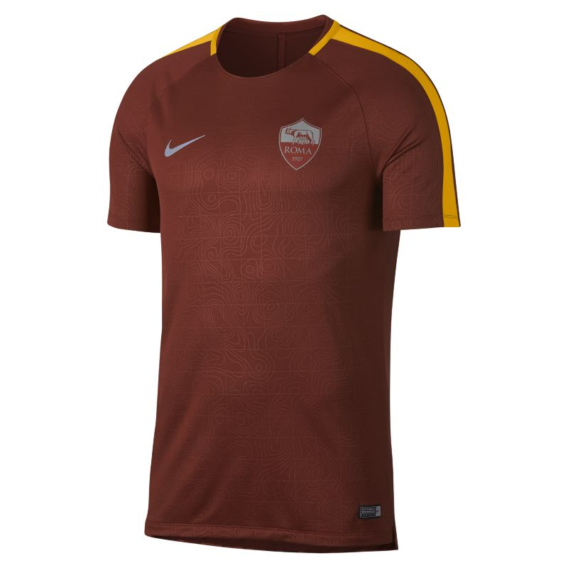 AS Roma Dri-FIT Squad Men's Short-Sleeve Football Top - Brown