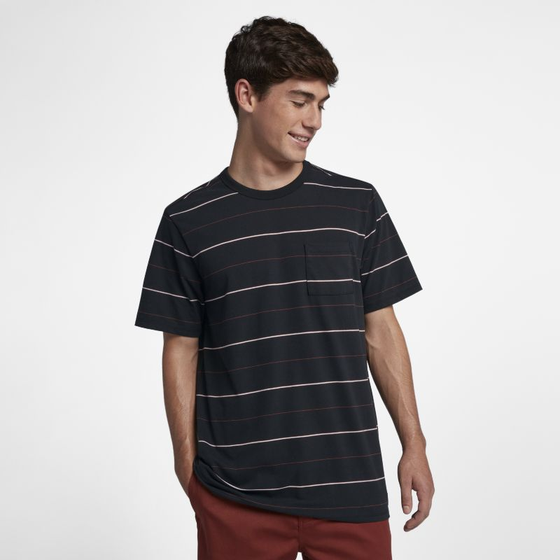 Hurley Dri-FIT Straya Men's Short-Sleeve Striped Top - Black