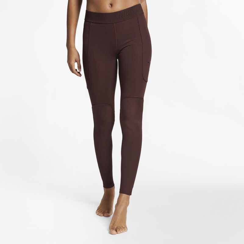 Nike Pro HyperCool Women's Ribbed Yoga Tights - Brown