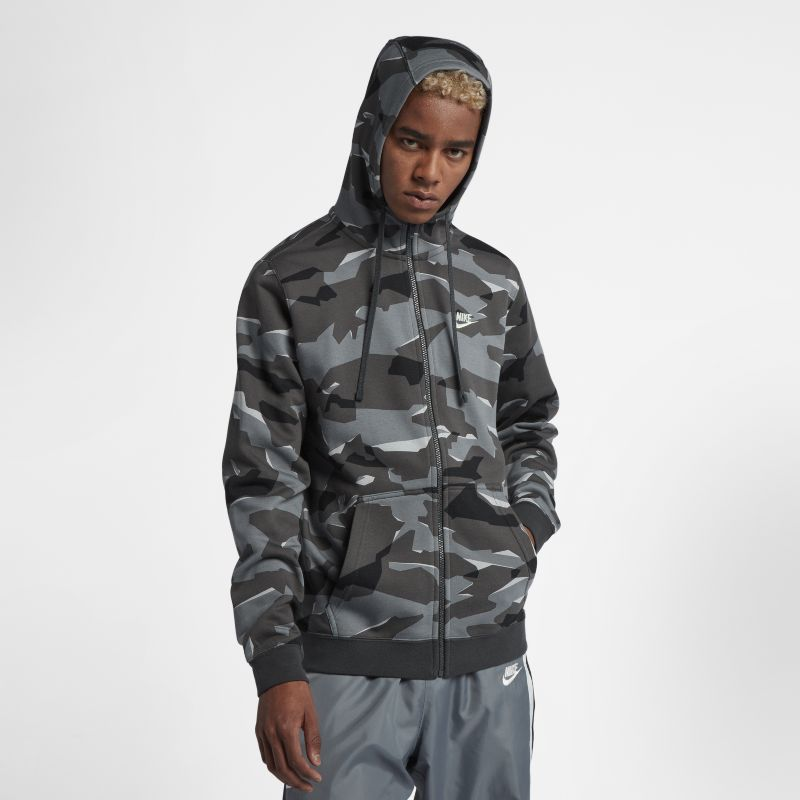 Nike Sportswear Club Fleece Men's Full-Zip Camo Hoodie - Grey