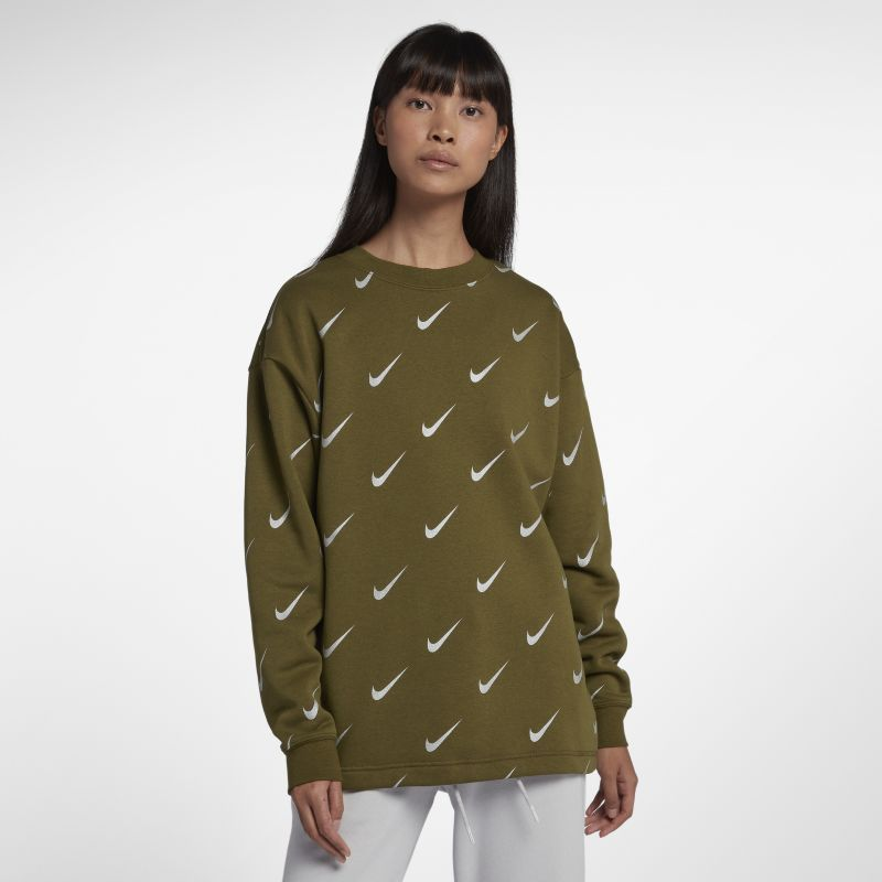 Nike Sportswear Rally Women's Print Metallic Crew - Green