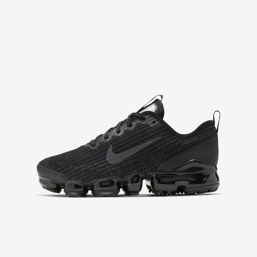 Nike Big Kids Air Vapormax Flyknit 3 Running Sneakers From Finish Line In Grey/ Metallic Silver- Thistle