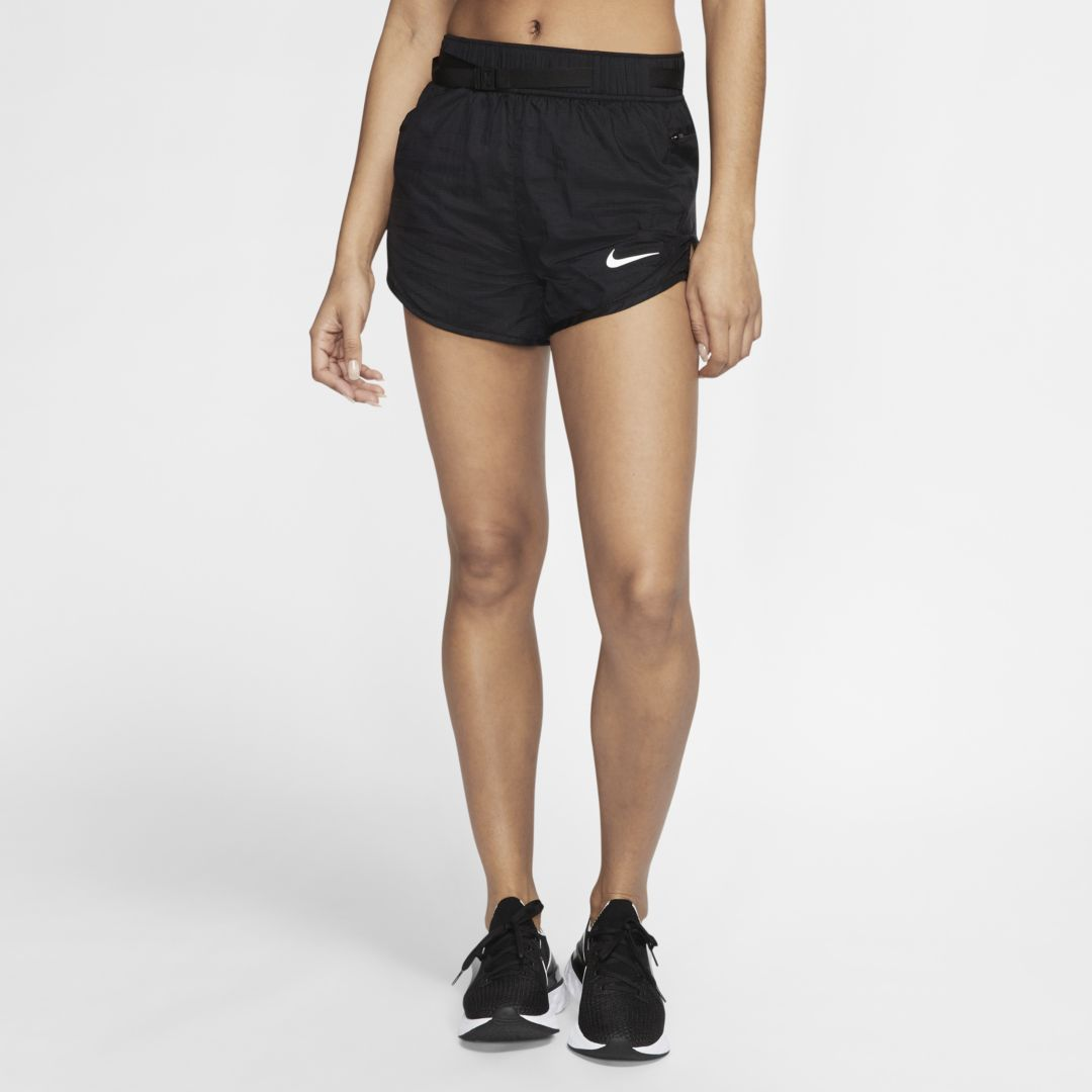 LIGHTWEIGHT, BREATHABLE AND SECURE. The Nike Icon Clash Shorts offer up breathable comfort and lightweight fabric to help you stay cool on your run. 2 pockets store your small items, while an adjustable belt with loops provides secure support. Benefits Sweat-wicking technology helps you stay dry and comfortable. An adjustable web belt with buckle helps secure the fit. A zippered pocket at the left hip stores your small items. A drop-in pocket at the right hip stashes your post-run essentials. The knit liner adds comfortable coverage. Product Details Standard fit for a relaxed, easy feel Reflective details Body: 100% nylon. Lining: 100% recycled polyester. Machine wash Imported Not intended for use as Personal Protective Equipment (PPE) Style: CJ2429;Color: Black/Black/White; Size: XS; Gender: Female