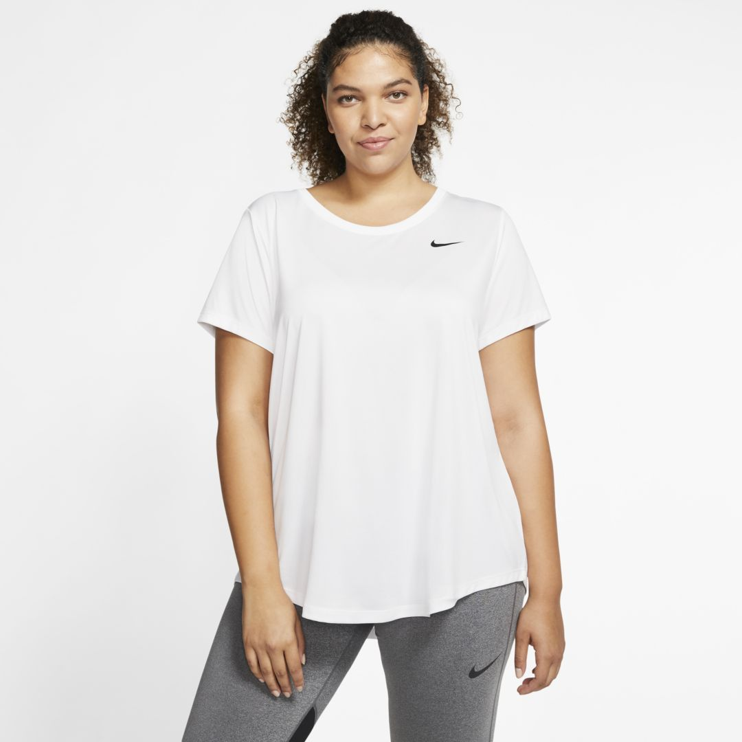NIKE DRI-FIT LEGEND WOMEN'S TRAINING T-SHIRT (PLUS SIZE) (WHITE)