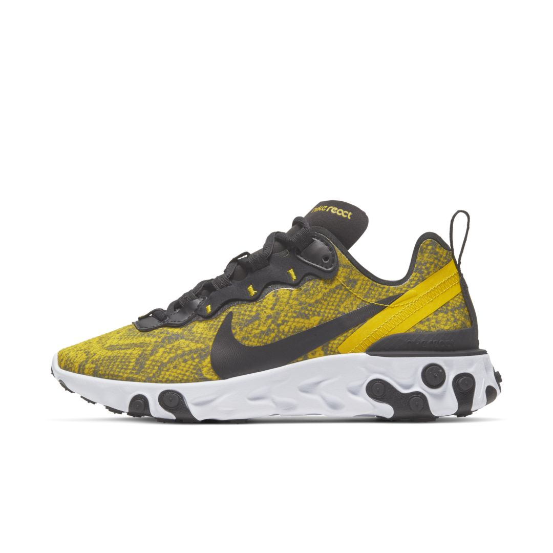 AN ELEMENT OF SURPRISE. Updated with a python-print upper, the Nike React Element 55 borrows design lines from heritage runners like the Nike Internationalist and then places it all on Nike React technology. Benefits A lightweight textile and synthetic leather upper provides durability. Nike React technology delivers an extremely smooth ride. Rubber pods on the midsole and outsole provide durable traction. Eyestay foxing follows the wavy design lines of the eyestays of the Nike Internationalist. A heel clip provides a stable feel. A pull tab at the heel makes it easy to put on and take off. Style: CT1551;Color: Speed Yellow/White/Black; Size: 6.5; Gender: Female