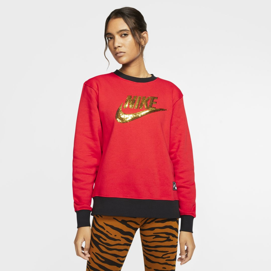 Sportswear Icon Clash Women's Fleece Crew In University Red