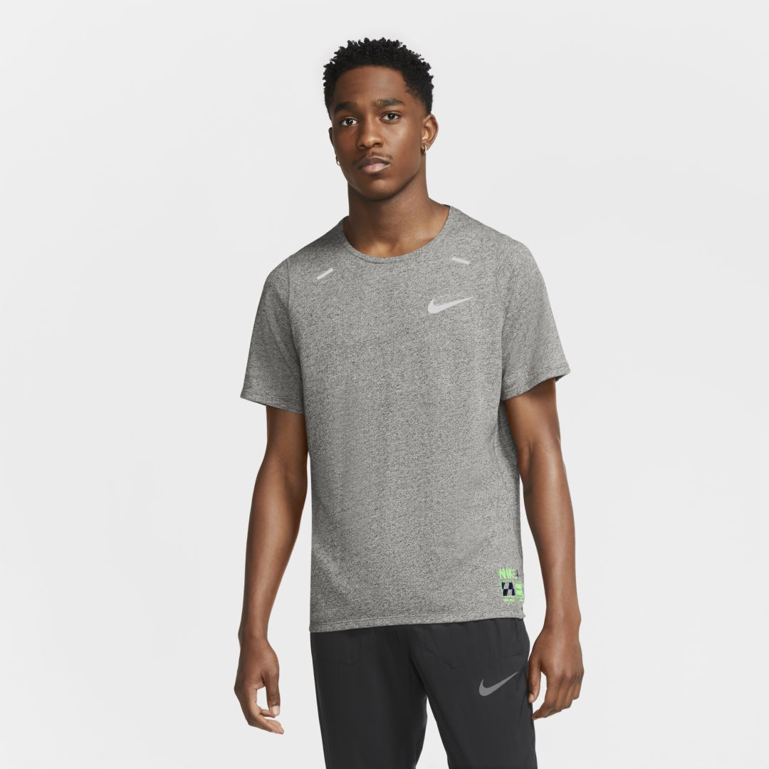 Nike Dri-fit Rise 365 Future Fast Running T-shirt In Grey Heather/ Silver