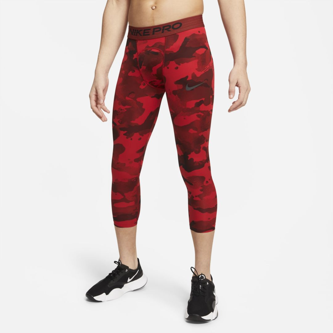 Nike PRO MEN'S 3/4 CAMO LEGGINGS (UNIVERSITY RED)