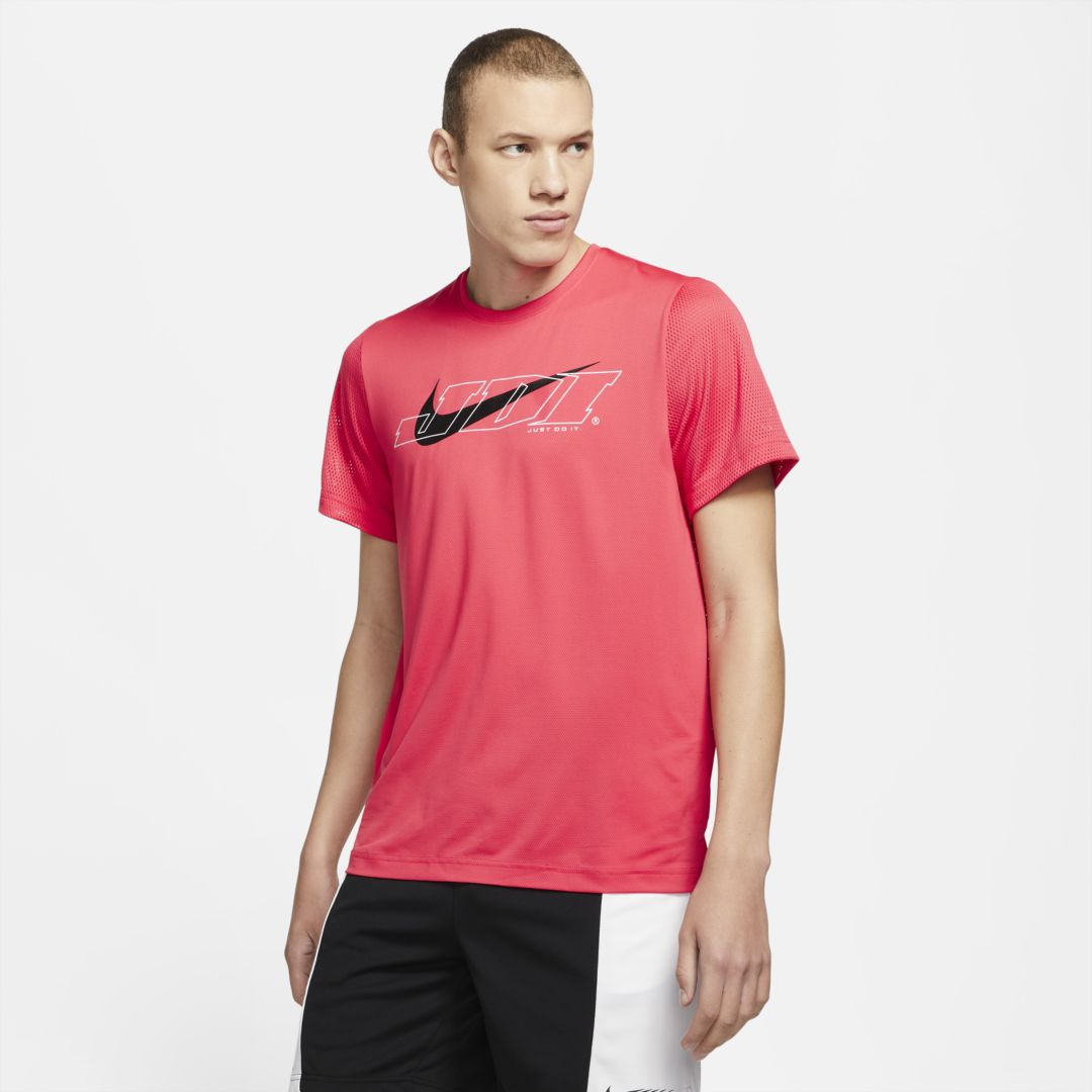 Nike Sport Clash Men's Short-sleeve Training Top (light Fusion Red) In Light Fusion Red,black