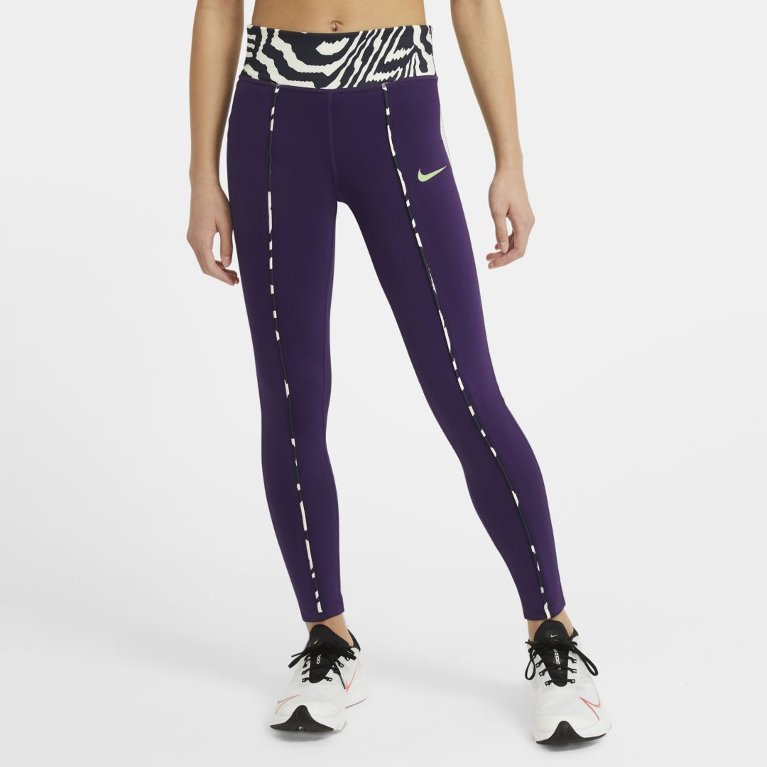 Nike ONE BIG KIDS' (GIRLS') PRINTED LEGGINGS (GRAND PURPLE)