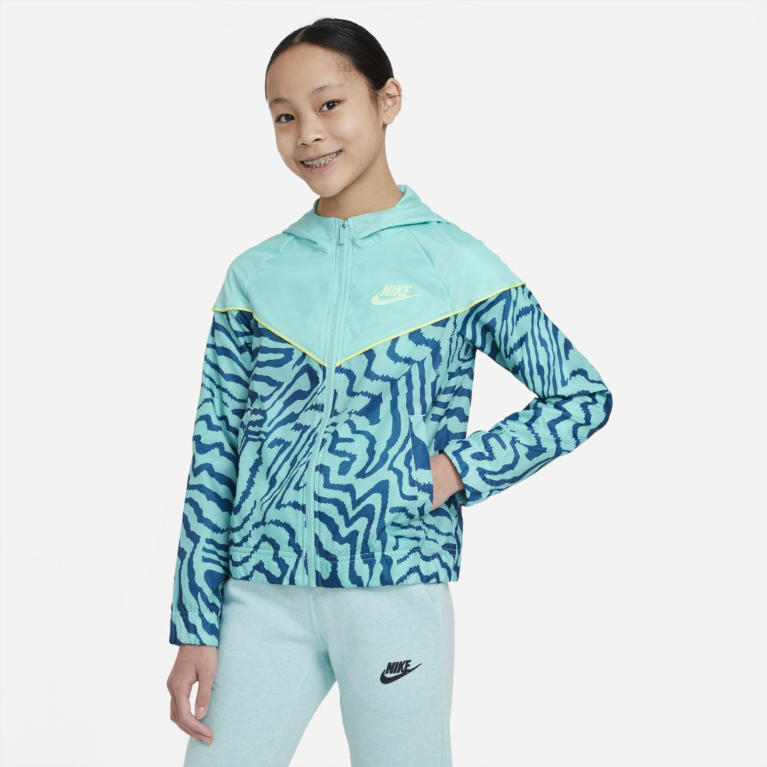 Nike SPORTSWEAR WINDRUNNER BIG KIDS' (GIRLS') PRINTED JACKET (TROPICAL TWIST)