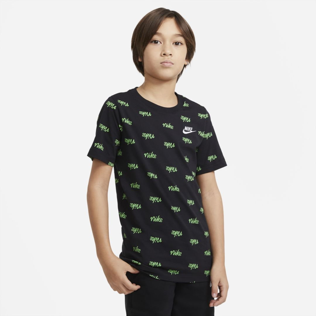 Nike SPORTSWEAR SCRIPT BIG KIDS' (BOYS') PRINTED T-SHIRT (BLACK)
