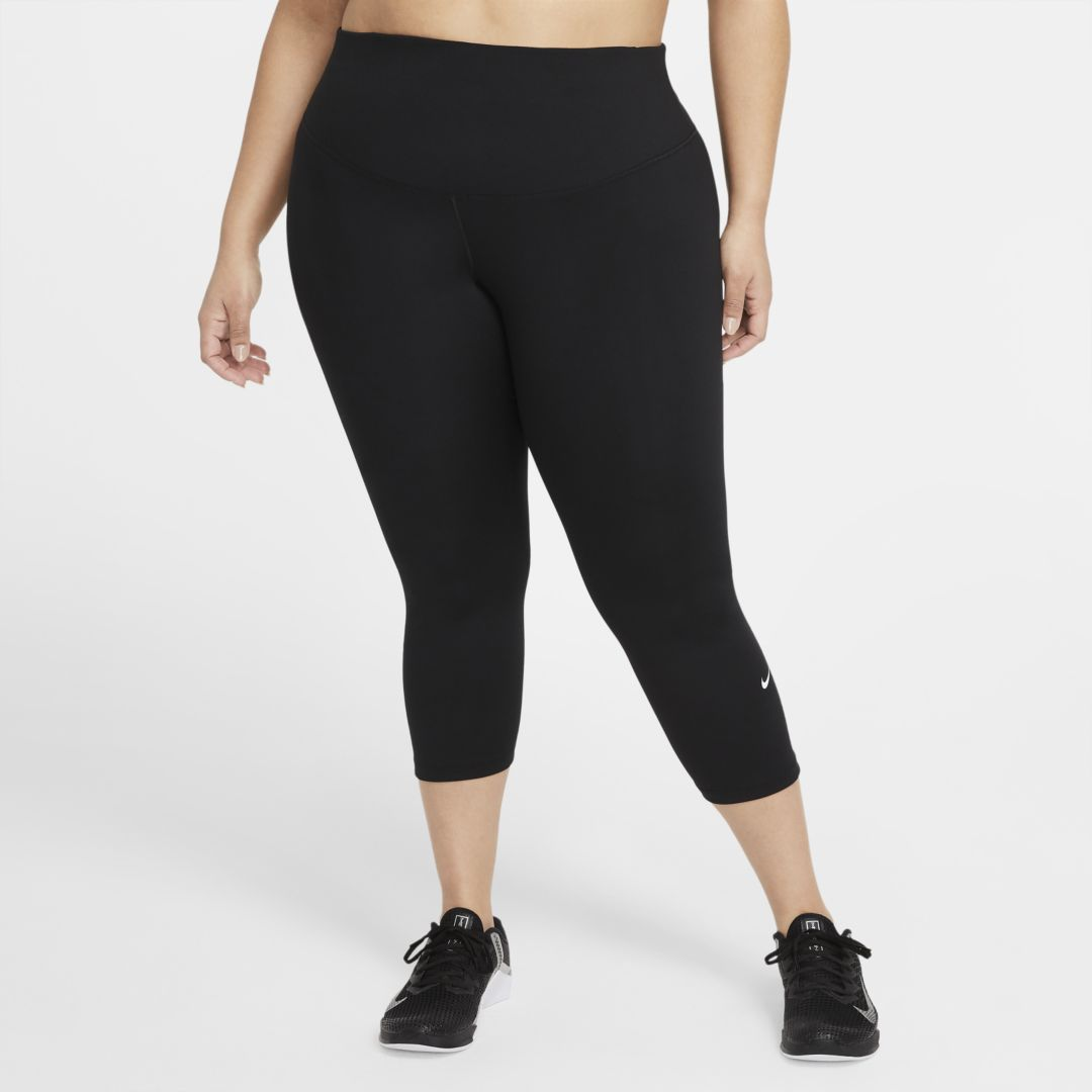 Nike ONE WOMEN'S CROPPED LEGGINGS (PLUS SIZE) (BLACK)