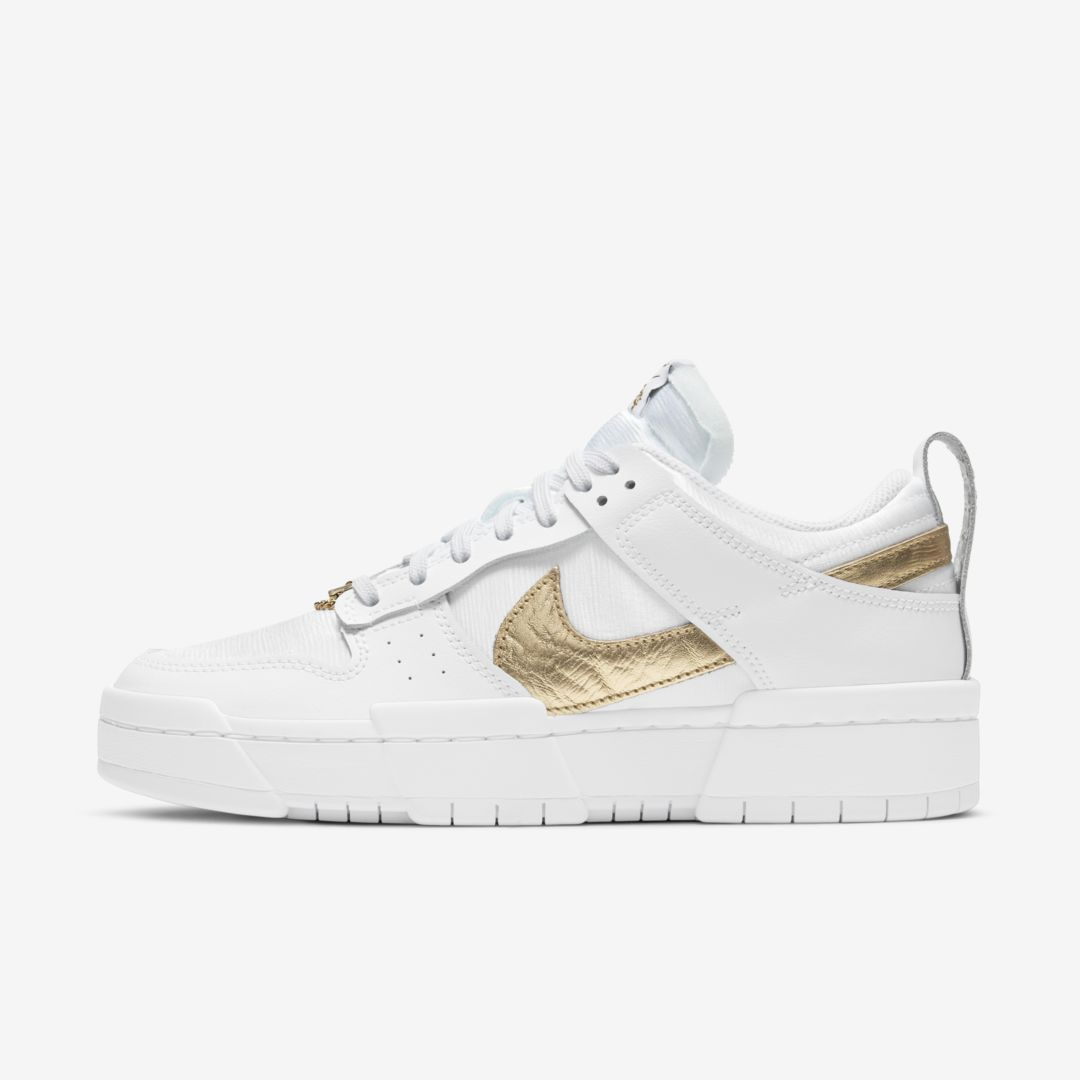 Nike Dunk Low Disrupt Basketball Shoe In White/ White/ Gold/ Black
