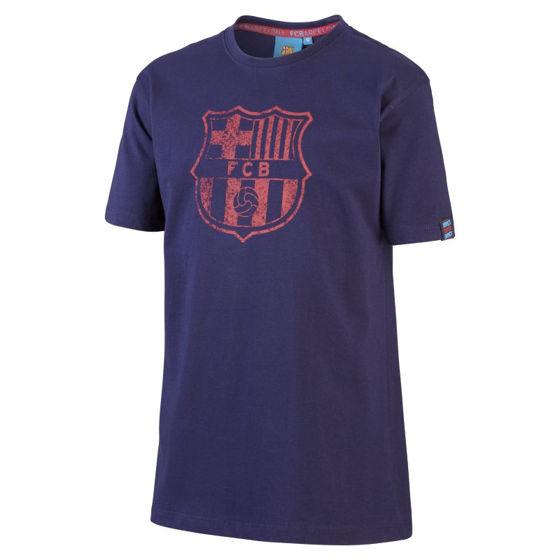 FC Barcelona Shield Older Kids'T-Shirt - Blue