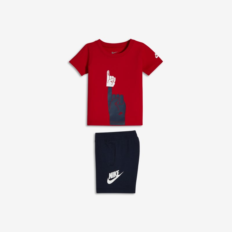 Nike Futura Foam Finger Two-Piece Baby& Toddler T-Shirt and Shorts - Red