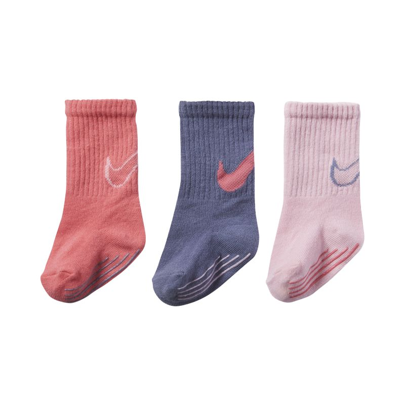 Nike Track Gripper Baby and Toddler Socks (3 Pair) - Pink