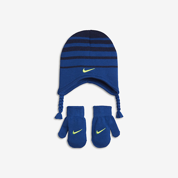 Nike Toddlers Stripe Knit Hat and Mittens Set (Blue)