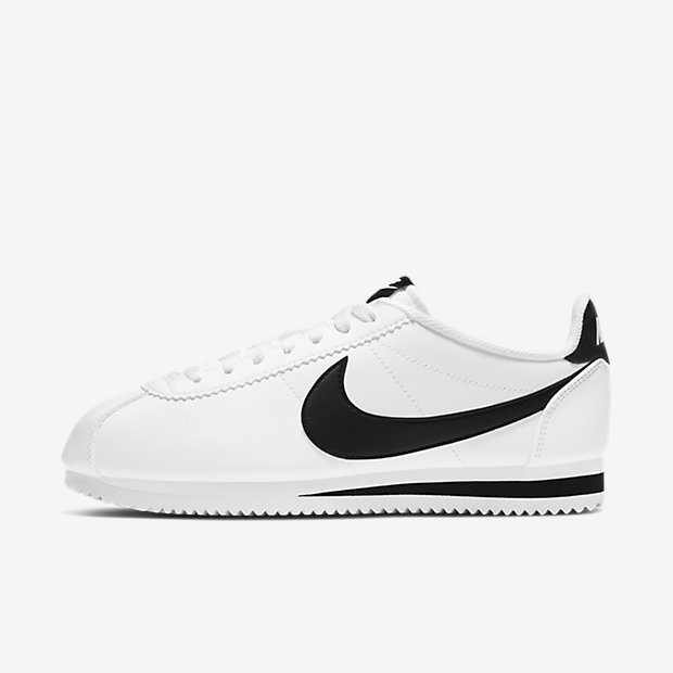 huge discount 2055c f6390 Nike Classic Cortez Leather Sneakers White Black ...