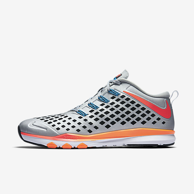 Nike Mens Train Quick AMP Training Shoes (Metallic Silver/Total Orange)